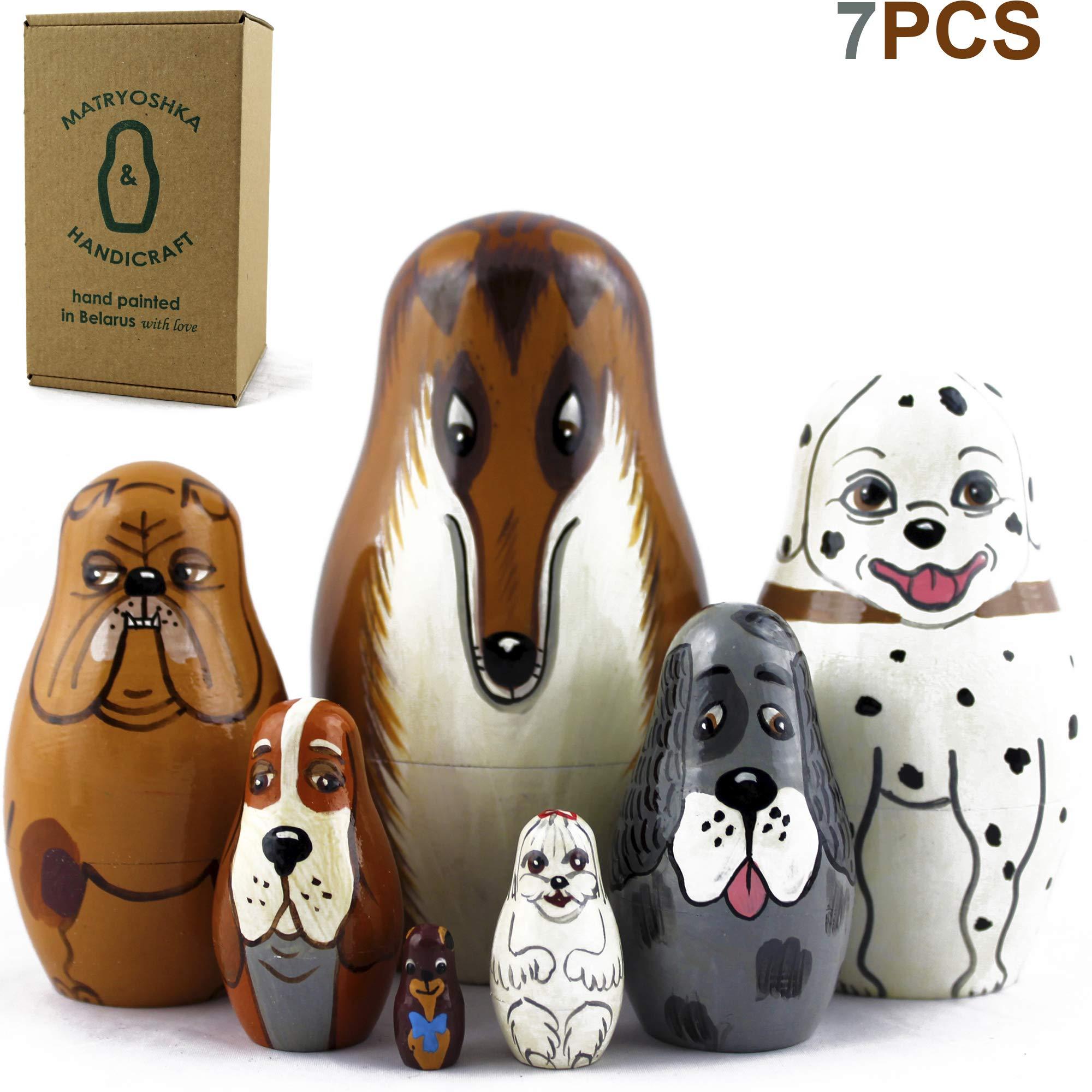 MATRYOSHKA&HANDICRAFT Dog Nesting Dolls - Toy Dog Lover Gifts - 7 Dog Figurines - Dog Kids Figure Doll by MATRYOSHKA&HANDICRAFT