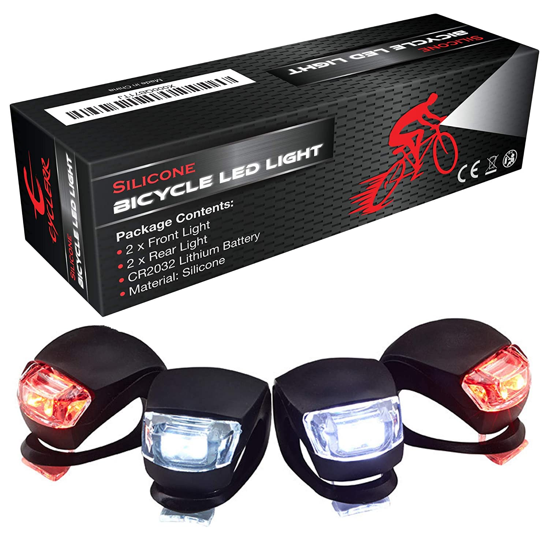 Silicone Bike Light LED Set of 4 Bicycle Lights - Front and Back MYBEALS