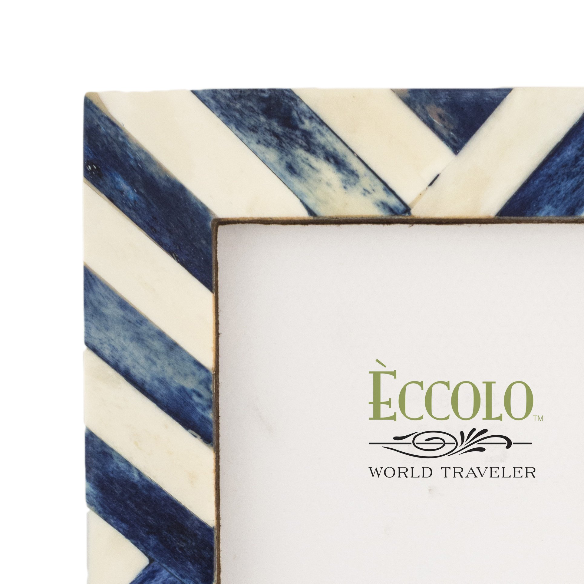 Eccolo Naturals Frame, 5 by 7-Inch, Angled Stripes Blue by Eccolo