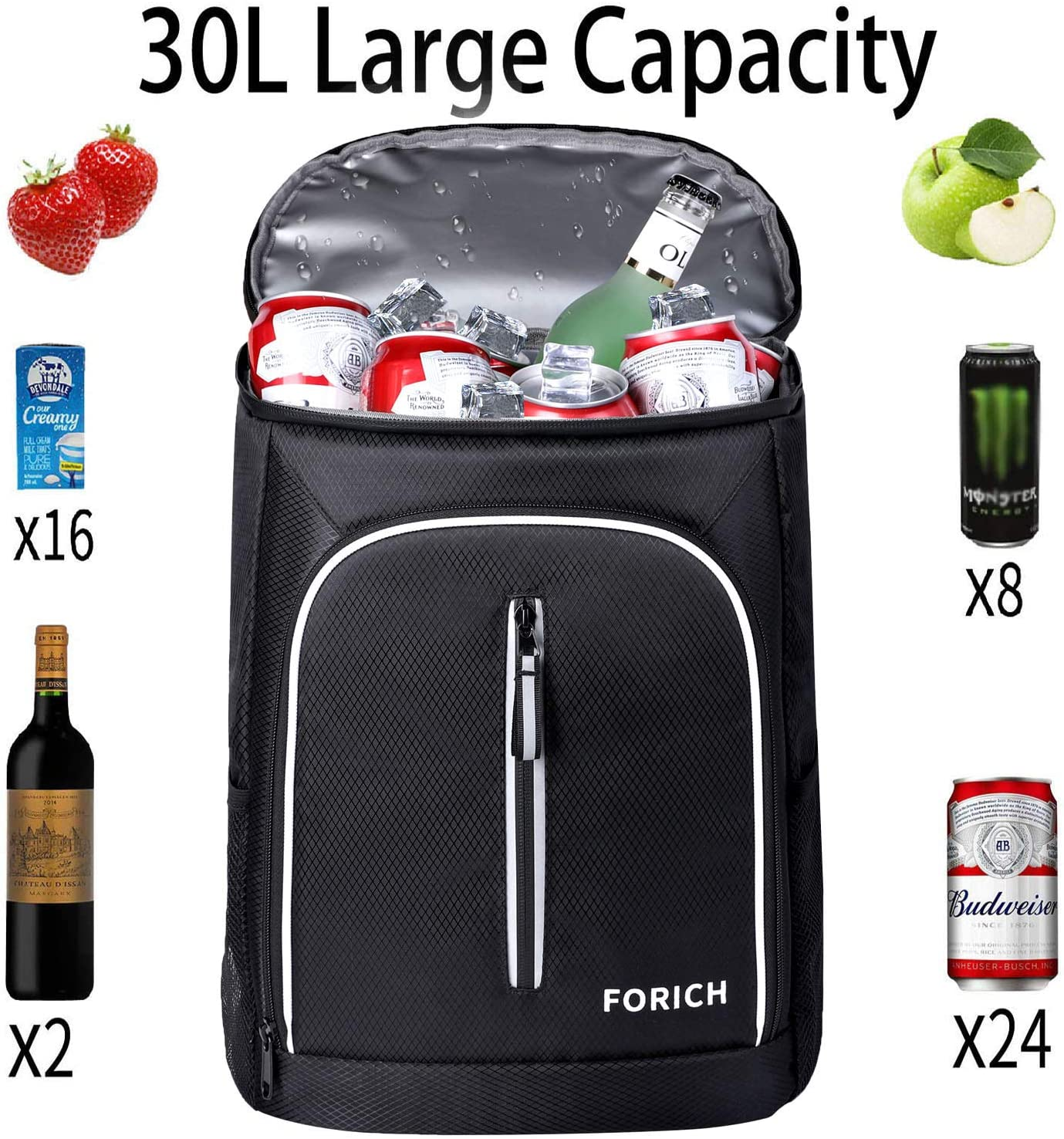 Watermelon Red FORICH Cooler Backpack Soft Backpack Cooler Bag Leak Proof Insulated Cooler Backpacks to Beach Camping Hiking Picnic Work Lunch Travel for Men Women