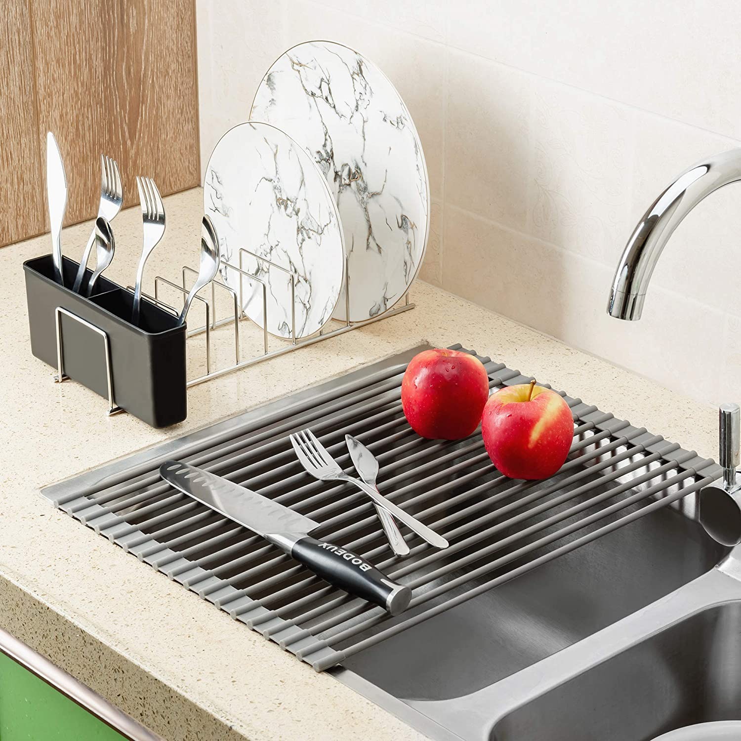 Iycorish Kitchen Organizer Pot Coperchio Rack Dish Rrain Rack Spoon Holder Mensola Tagliere Rack Pan Cover Stand Accessori da Cucina Bianco
