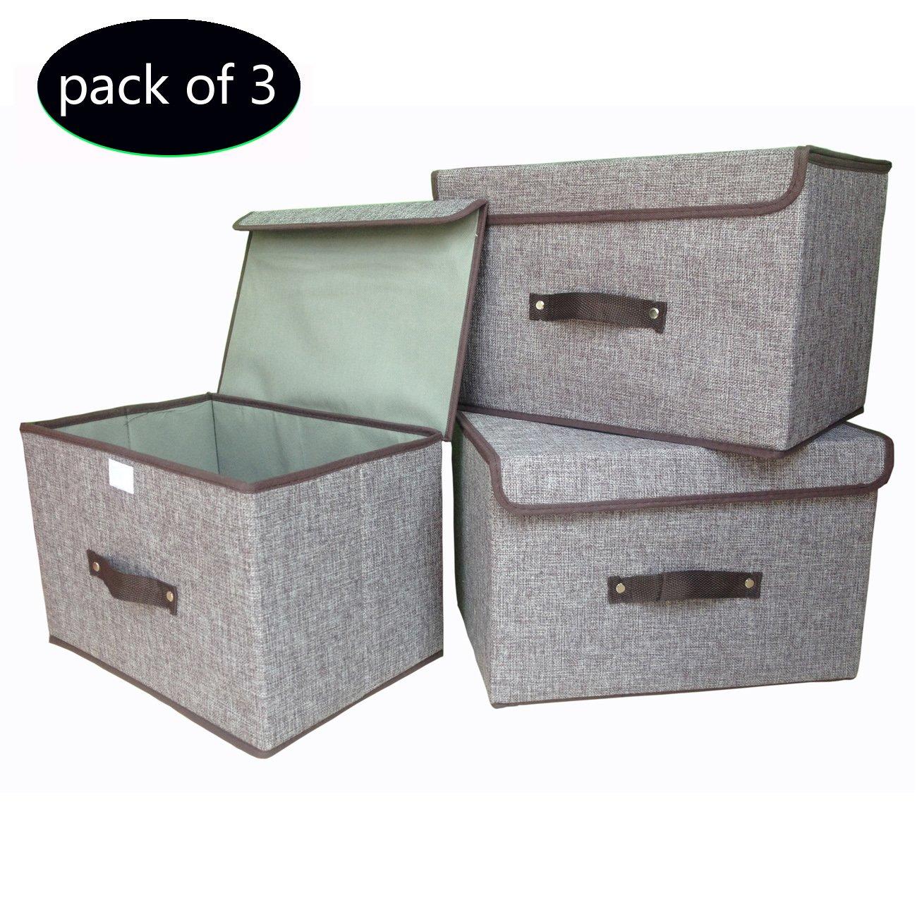 large storage boxes 3 pack ezoware large linen fabric foldable storage cubes bin. Black Bedroom Furniture Sets. Home Design Ideas