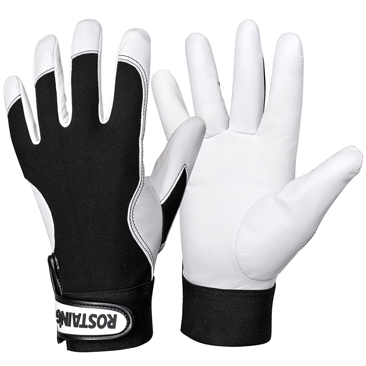Rostaing CONTACT/IT08 Gants, Blanc/Noir, 32.5 x 11 x 1 cm