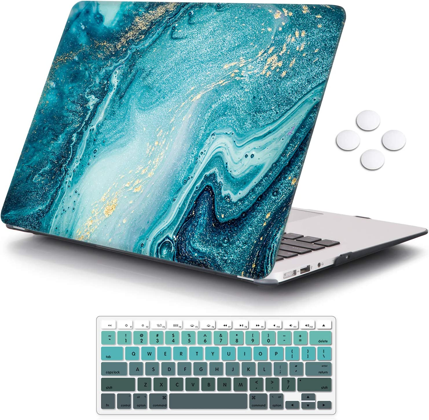 iCasso MacBook Air 13 inch Case (Release 2010-2017 Older Version), Plastic Pattern Hard Shell Protective Case & Keyboard Cover Only Compatible with MacBook Air 13 Inch Model A1369/A1466 - River Sand