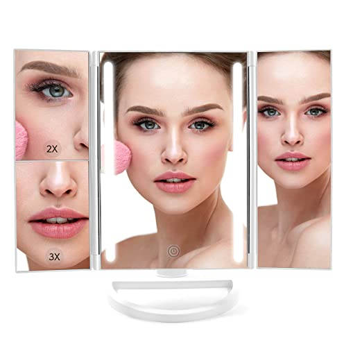 Lighted Makeup Mirror, LED Vanity Glam Make Up Mirror with Lights, Tri-Fold LED Makeup Beauty Mirror for Bathroom or Bedroom, Magnifying Beauty Mirror with LED Lighting – 9.5 x 1 x 13.5 Inches