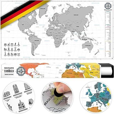 Amazon De Benehacks Weltkarte Zum Rubbeln In Deutsch