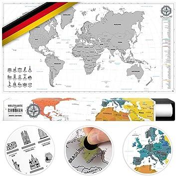 Landkarte Deutsch.Benehacks Weltkarte Zum Rubbeln In Deutsch Rubbelweltkarte Landkarte Zum Freirubbeln Poster Silber Weiss 84 X 44 Cm Inkl Geschenk Verpackung