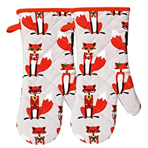 RED LMLDETA Oven Mitts Gloves 1 Pair Heat Resistant 480℉ Kitchen 100% Cotton Comfortable Lining Cute Fox Women Men Mittens Cooking Baking Grilling Machine Washable Potholder (Fox Oven Mitts)