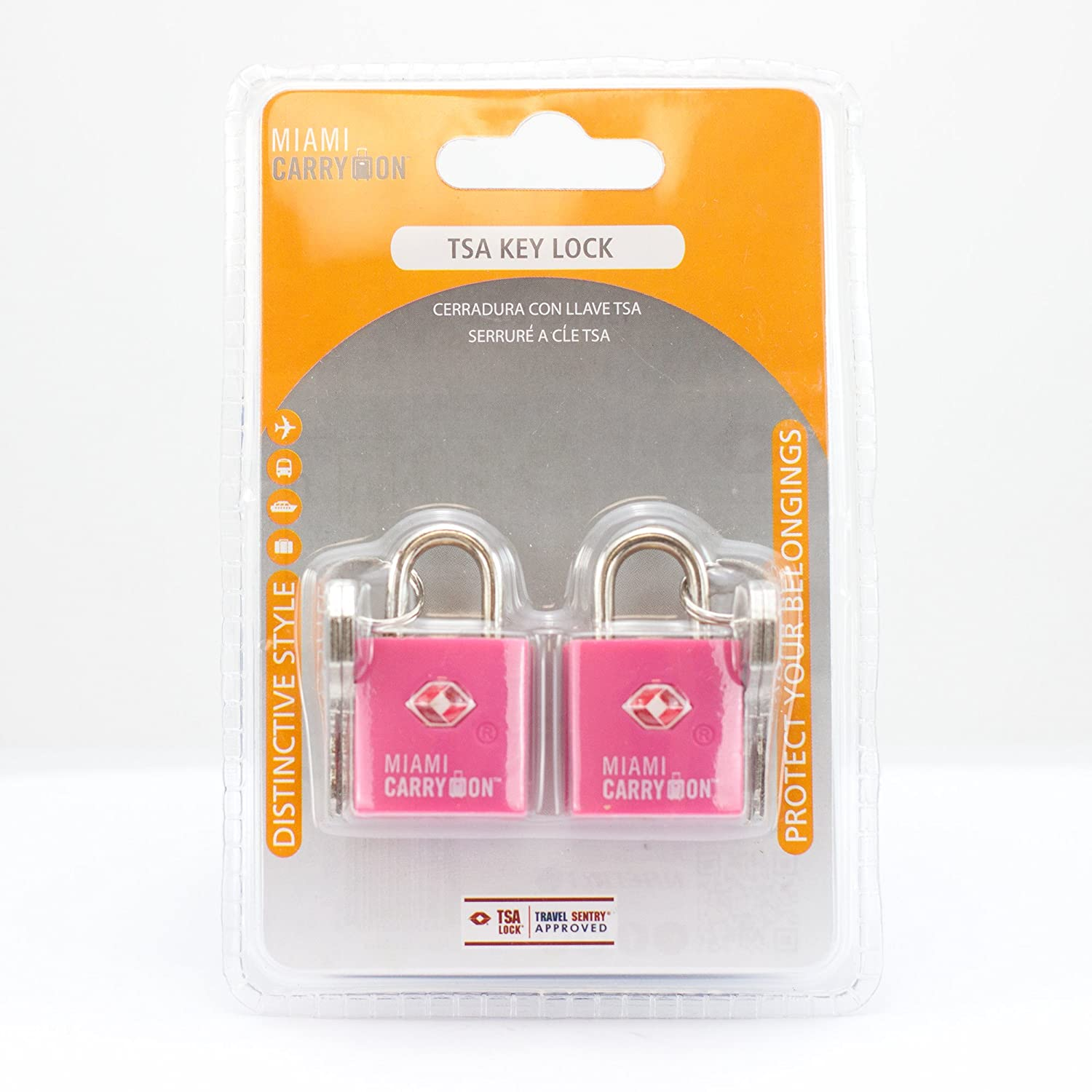 Amazon.com | TSA Approved Padlock - Miami Carry On - Best TSA Keyed Luggage Lock, 0.9 Inch Wide - Keyed Different - Pink (2 Pack) | Luggage Locks