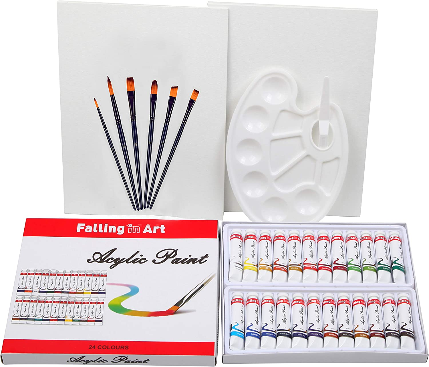 Falling In Art 34-Pieces Acrylic Artist Paint Set - with 24colors Acrylic Tubes, 6 Brushes, 9'' x 12'' Canvas Panels, 10 Well Portable Palette and Plastic Mixing Knife