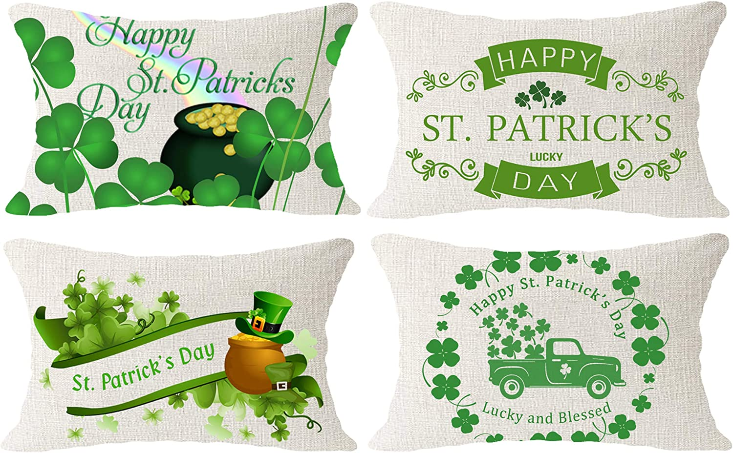 Hysunland St Patricks Day Spring Pillow Cases Covers 12x20 Inch Pack of 4 Shamrock Clovers Rainbow Pot of Gold Decor Beige Burlap Farmhouse Lumbar Pillow Shams Pillowcases with Zip for Home Outdoor