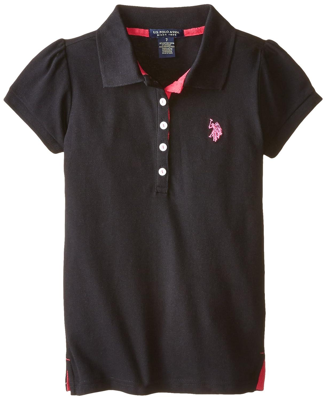 U.S. Polo Assn. girls Puff Sleeve Pique Polo Black 16 Q3IY14EV