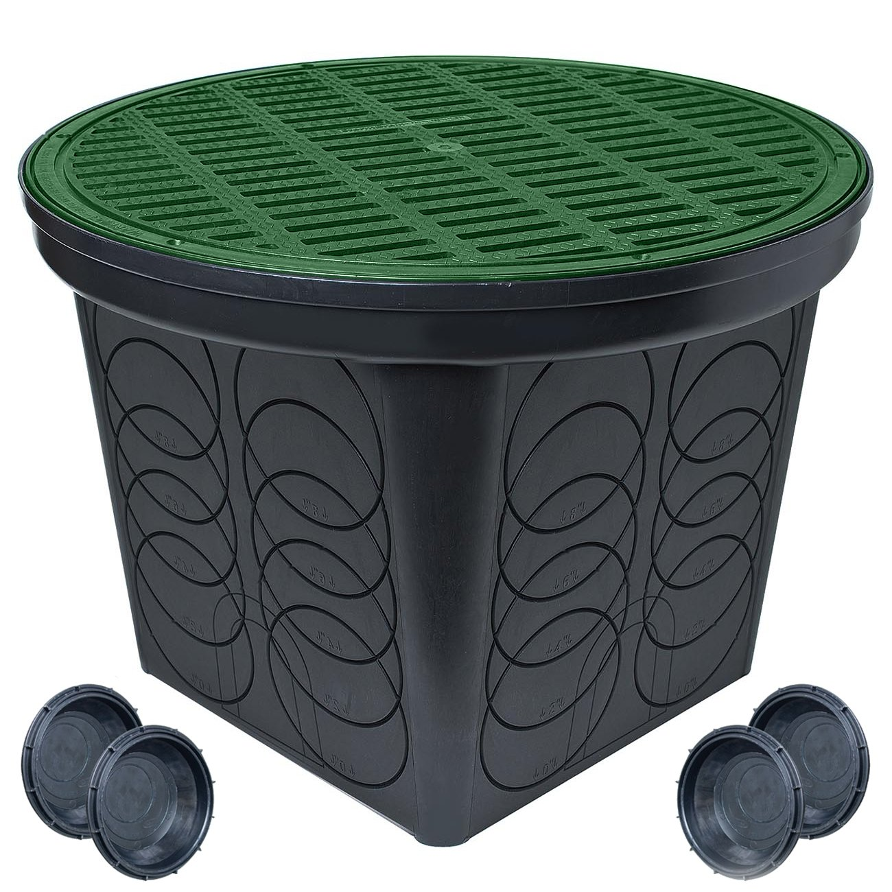 StormDrain FSD-3017 20 in. Large Round Catch Basin with Green Grate Kit