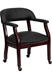 Flash Furniture Black Leather Conference Chair with Accent Nail Trim and Casters