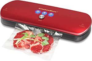 KitchenBoss Vacuum Sealer Machine for Preservation Automatic Vacuum Sealing System,with Starter Kit Inclued 20 PCS Bags(Red)
