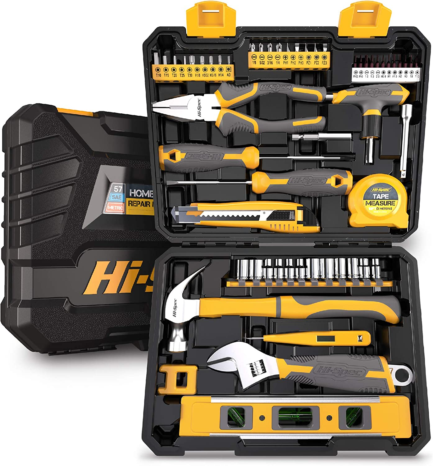 Hi-Spec 57 Piece Home & Garage Tool Kit Set. Full Set of Complete Repair & Maintenance Hand Tools for the Household, Office, Workplace & Workshop. All in a Storage Case
