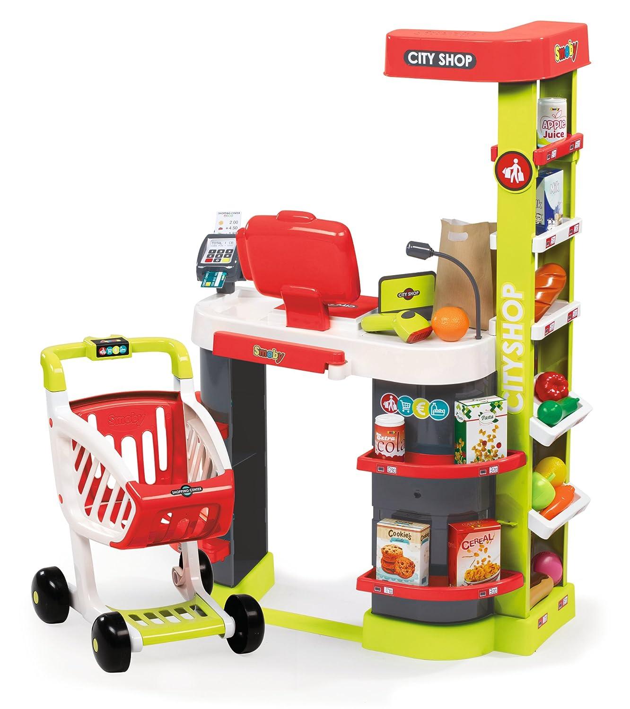 Smoby 350211 - - - City Shop mit Einkaufswagen, rot grün 73d870
