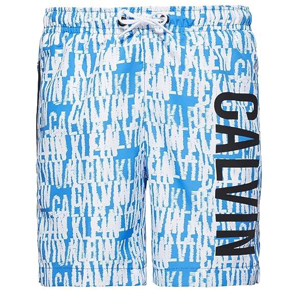c922242b22c41 Calvin Klein Boys Intense Power Swim Shorts, Blue & White Logo Medium Age 8-
