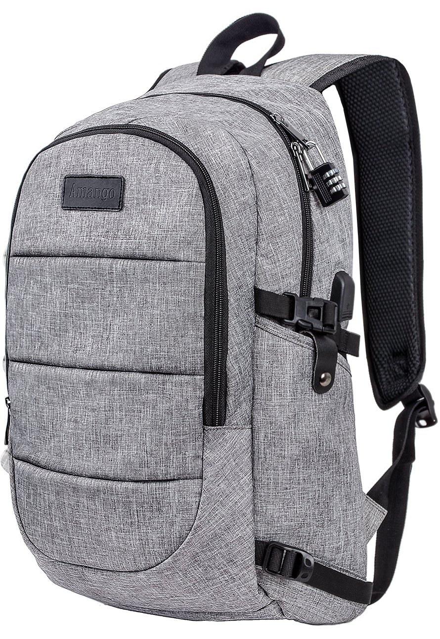 Laptop Backpack,Business Travel Laptop Backpack with USB Charging Port,Water Resistant High School Student Computer Bookbag Fits Under 17 Inch Laptop-Grey