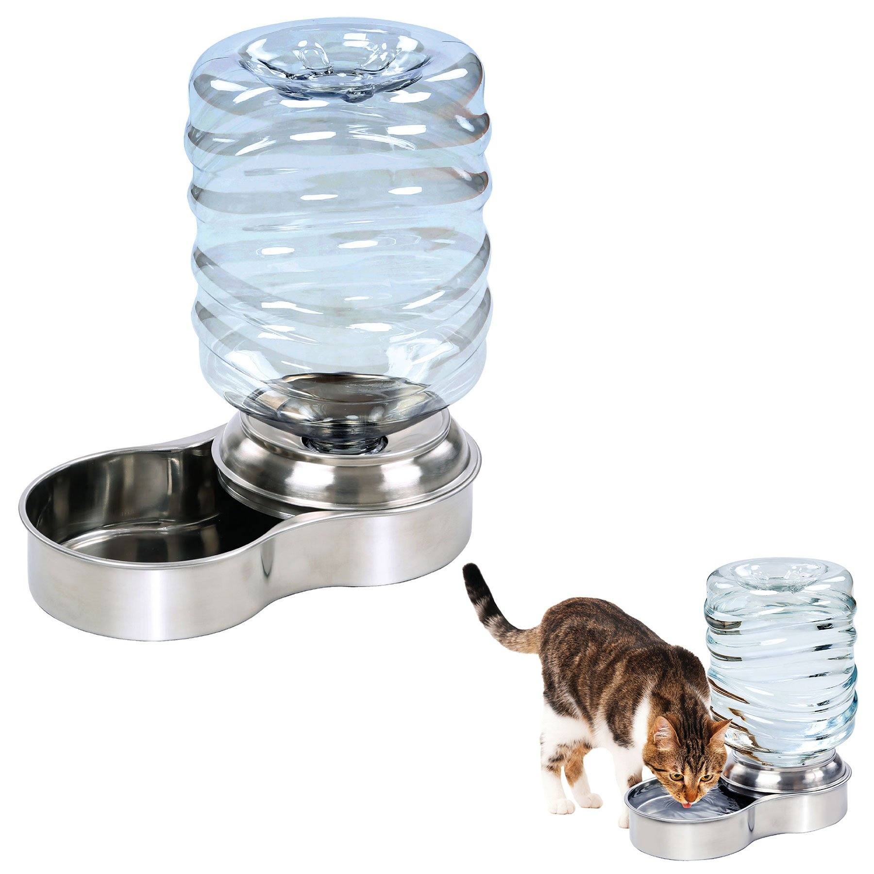 Stainless Steel Dog Pet Water Bowl with 3 Liter Replenishment Tank Gravity Fed