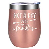 Birthday Gifts for Women - Not a Day Over Fabulous - Funny Wine Gifts, Christmas Gifts for Women, Her, Wife, Mom, Grandma, Daughter, Sister, Aunt, Best Friend, BFF, Coworkers - LEADO Wine Tumbler Cup