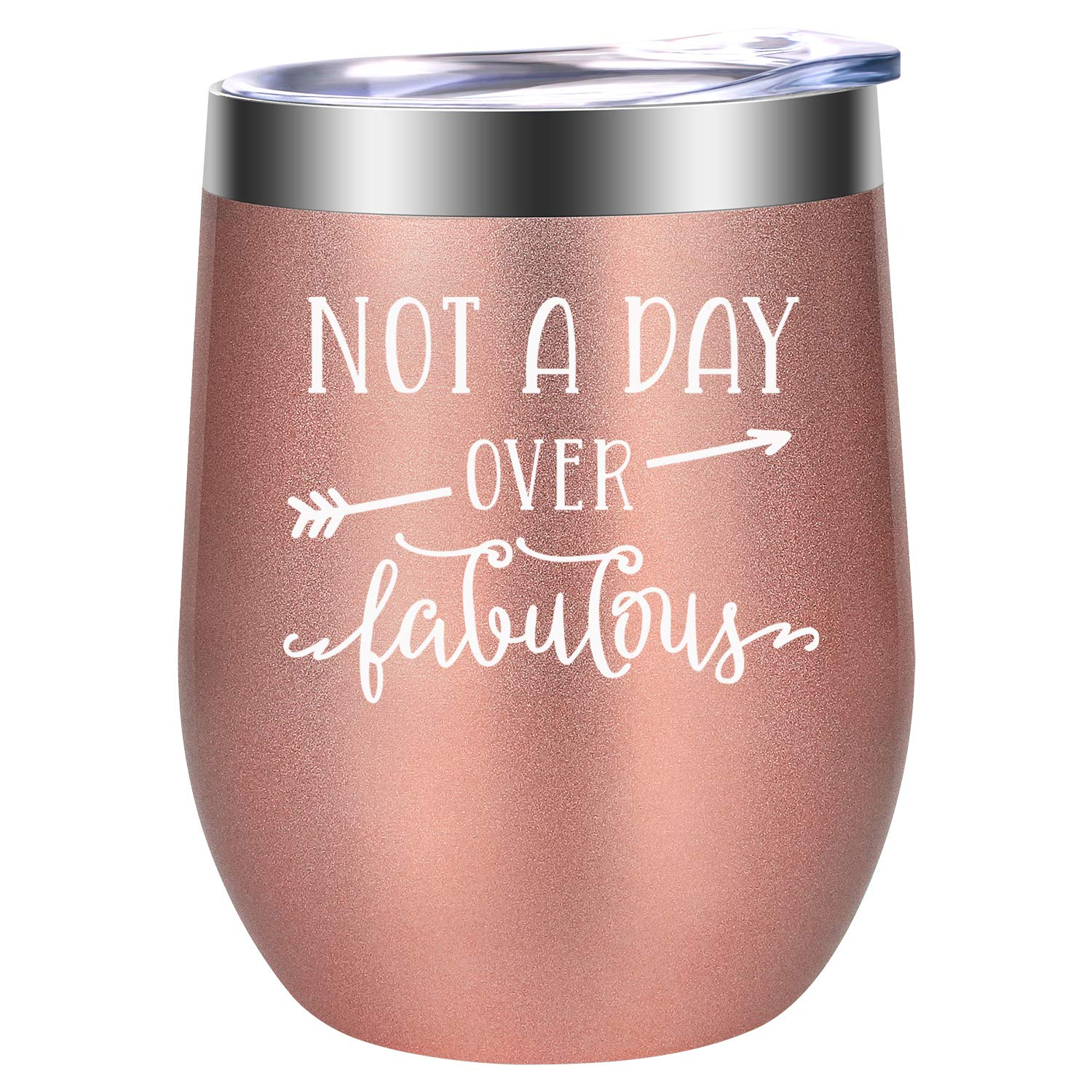 Not a Day Over Fabulous - Fun Birthday Gifts for Women - Funny Birthday Wine Gift Ideas for Her, Best Friend BFF, Mom, Grandma, Wife, Daughter, Sister, Aunt, Coworker - LEADO Birthday Wine Tumbler by LEADO (Image #1)
