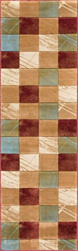 Marmo Nuovo Multi Red Beige Checkerboard Boxes Hand Carved Modern Geometric 2 x 7 2'3″ x 7'3″ Runner Area Rug Easy to Clean Stain Fade Resistant Abstract Contemporary Thick Soft Plush