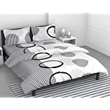 Loreto - A Quality Linen Brand 144 TC 100% Cotton Double Bedsheet with 2 Pillow Covers - White & Grey