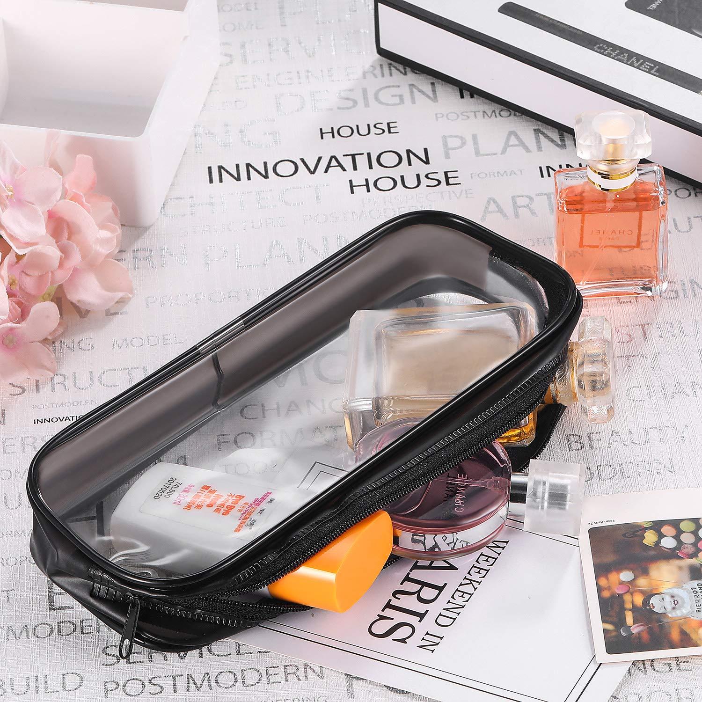 Bolsa de Bol/ígrafos de Capacidad Grande Bolsa de Maquillaje 4 Piezas de Bolsa de L/ápices con Cremallera de PVC Transparente Blanco