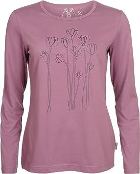 Elkline Blütezeit - Camiseta de Manga Larga Mujer - Rosa Talla 34 2018