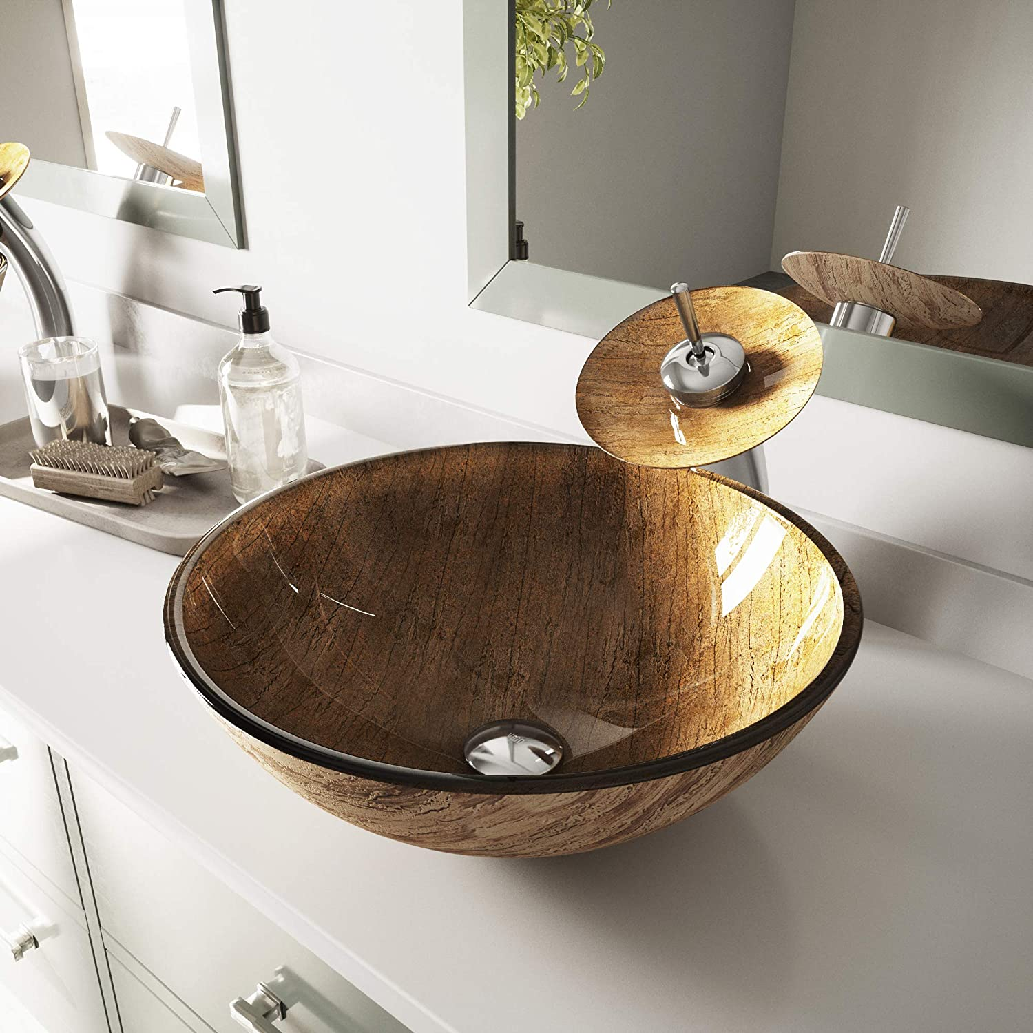 VIGO Handmade Amber Sunset Golden Woodgrain 16 Diameter Round Tempered Glass Vessel Vanity Bathroom Sink. Sink Only. Above Counter Install. Non-Porous, Scratch Stain Resistant Surface