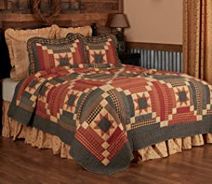 VHC Brands Classic Country Primitive Bedding-Maisie Quilt, Luxury King, Natural Tan