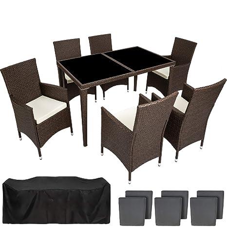 TecTake Conjunto muebles de Jardín en Poly Ratan Aluminio 6+1 + 2 Set de fundas intercambiables, tornillos de acero inoxidable - disponible en ...