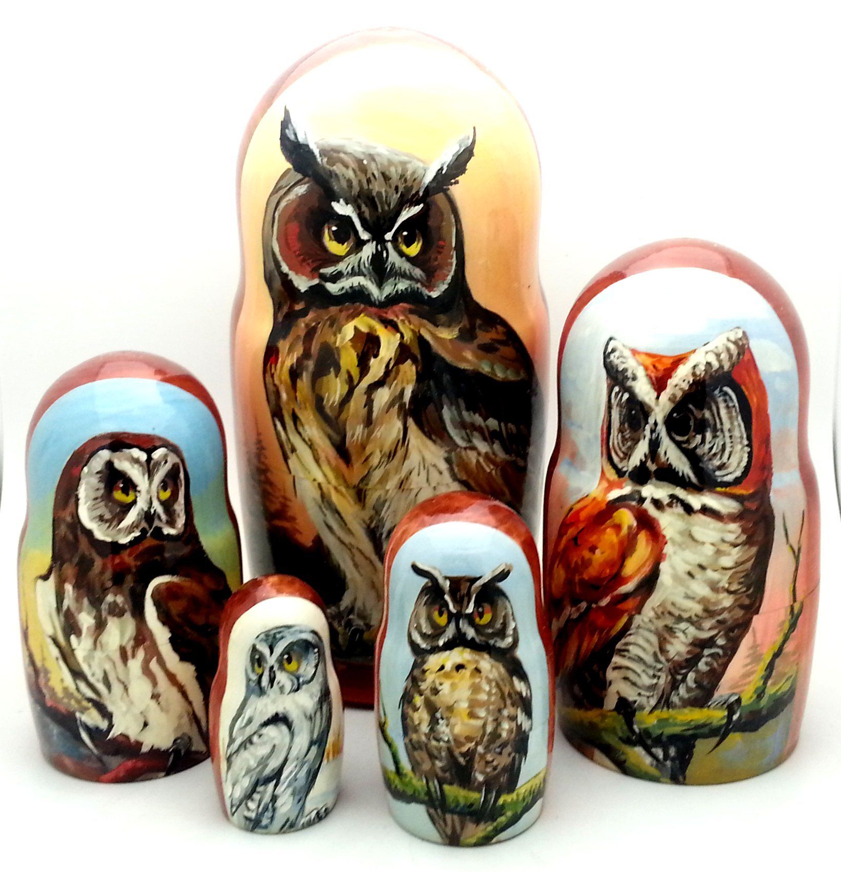 OWL nesting dolls Russian Hand Carved Hand Painted 5 piece matryoshka doll Set / 7''H