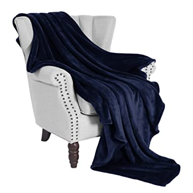 Exclusivo Mezcla Large Flannel Velvet Plush Throw Blanket – 50  x 70  (Navy Blue)