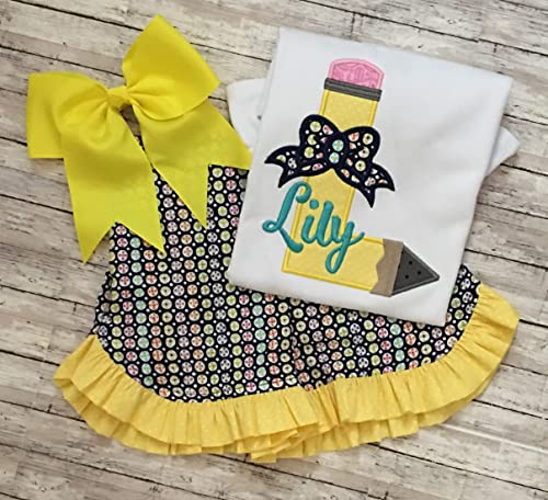 personalized school shirt Girls back to school outfit pencils school outfit first day of school school outfit school supplies shorts