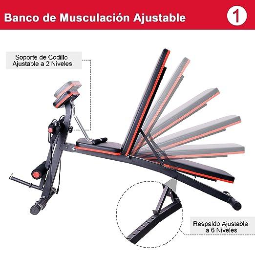 HOMCOM Banco de Mancuerna Plegable Inclinable Banco de Pesas Musculación Multifuncional para Entrenamiento Completo Máquina de Fitness Gimnasio Hogar: ...