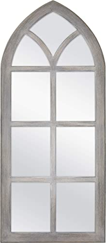 MCS Cathedral Windowpane Wall, Gray, 19×44 Inch Overall Size Mirror,