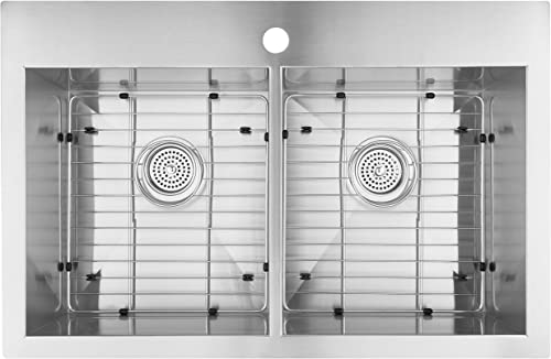 Artika SQ220GS18-CCA 31 x 20 Double Bowl Undermount or Drop-in 18 Gauge 50 50 Kitchen Sink Stainless Steel with Grids Included, Brushed Nickel