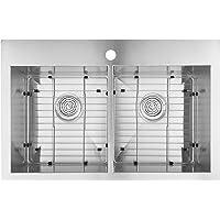 "Artika 31""x20"" Drop-in 18 Gauge 50/50 Kitchen Sink Stainless Steel with Grids"