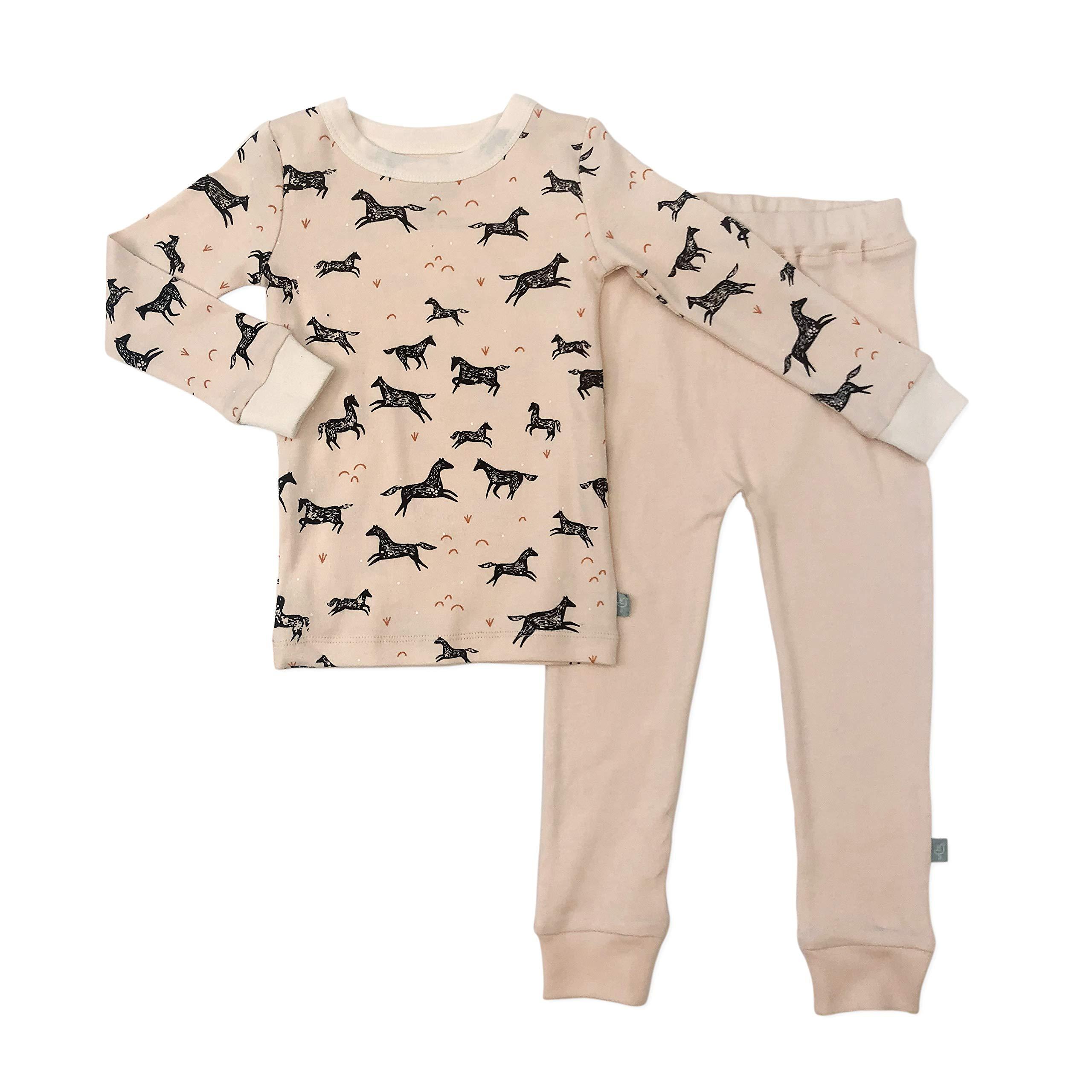 Finn + Emma Organic Cotton Pajama Sleep Set for Toddler Boy or Girl - Wild Horses, 2T by Finn + Emma