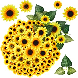 "AGEOMET 260pcs Artificial Sunflower Heads Set, 230pcs Fake Silk Sunflowers Heads 1.8""2.8""3.5""4""with 30pcs Leaves, for Wedding Sunflower Decor, Bride Holding Flowers, DIY Handicrafts"