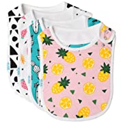 Baby Bib Large Toddler Burpy Absorbent Feeding Reflux Drool Teething Snap Button (Tropical)
