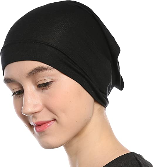 9a27e79643b81 Amazon.com  Black Under Scarf Tube Cap with Brim (Hijab Accessory)  Clothing