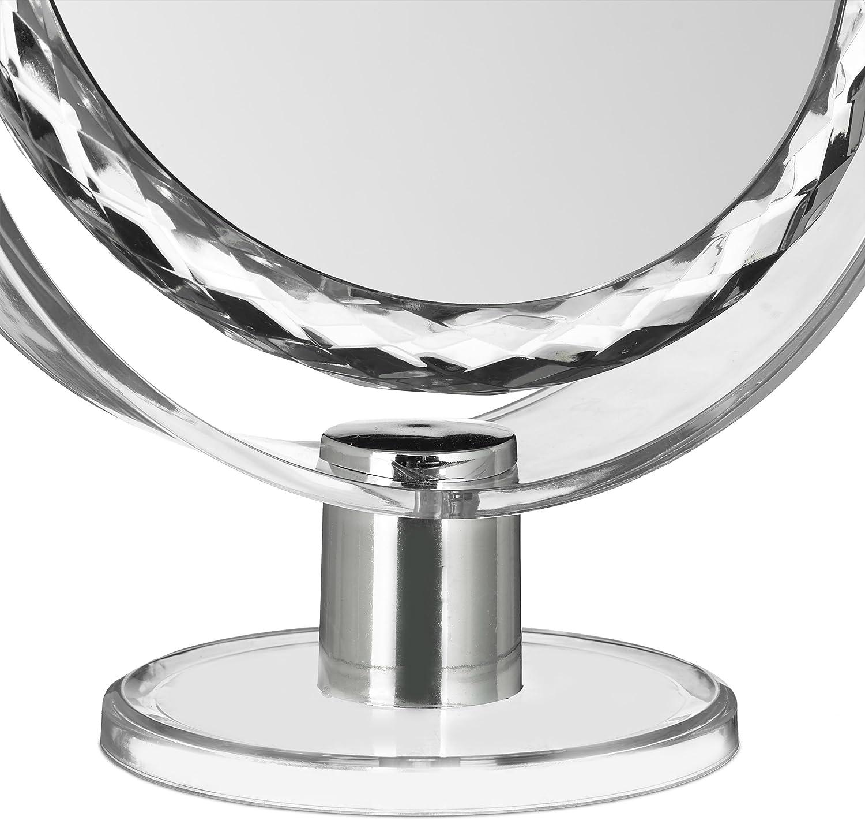 transparent HxBxT: 23 x 19 x 10 cm Schminkspiegel stehend Relaxdays 2 x Kosmetikspiegel mit Vergr/ö/ßerung Make Up Spiegel rund