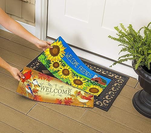 Evergreen Garden Poinsettia Floor Embossed Door Mat, Multicolor