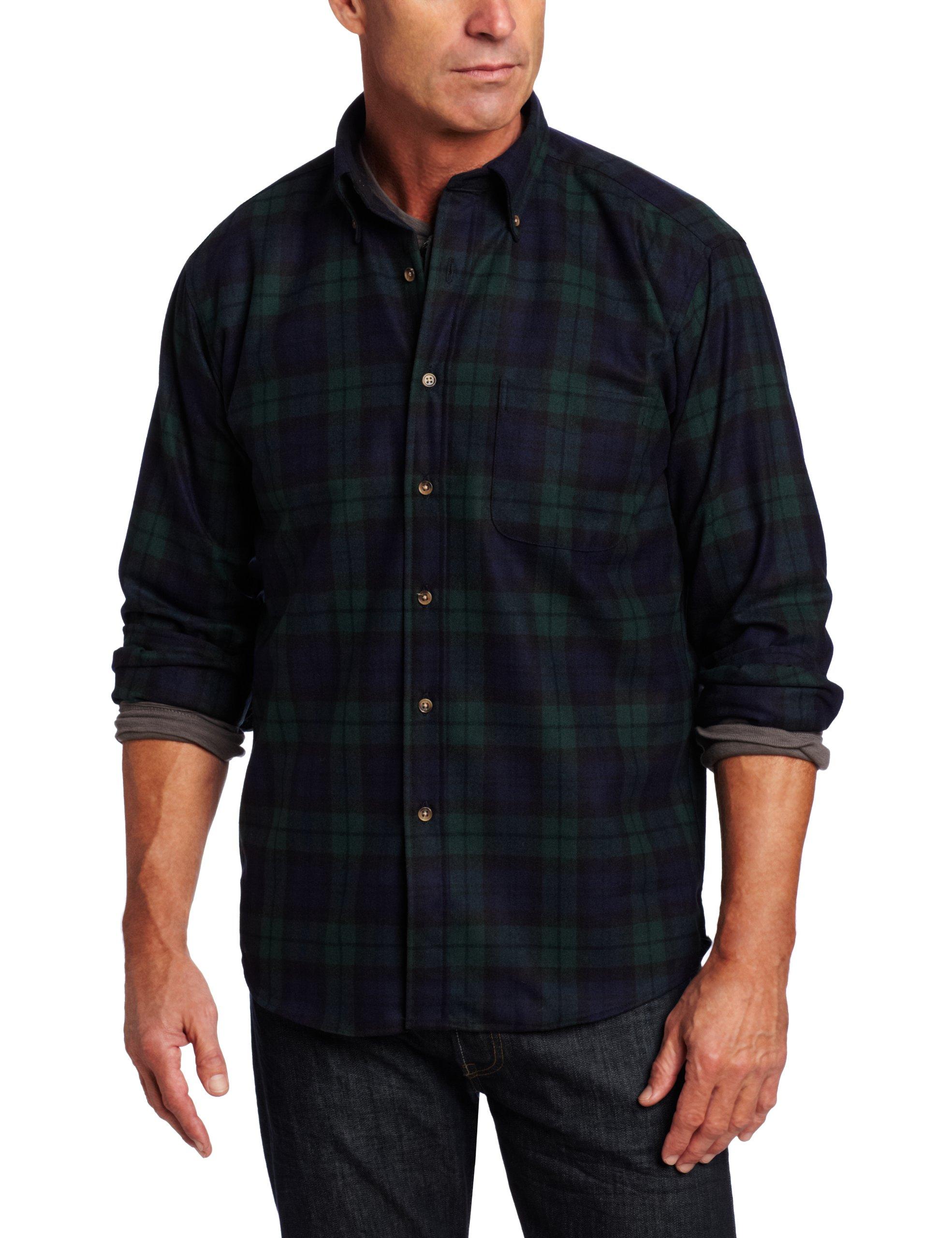 Pendleton Men's Long Sleeve Button Front Classic-fit Fireside Shirt, Black Watch Tartan-30069, MD