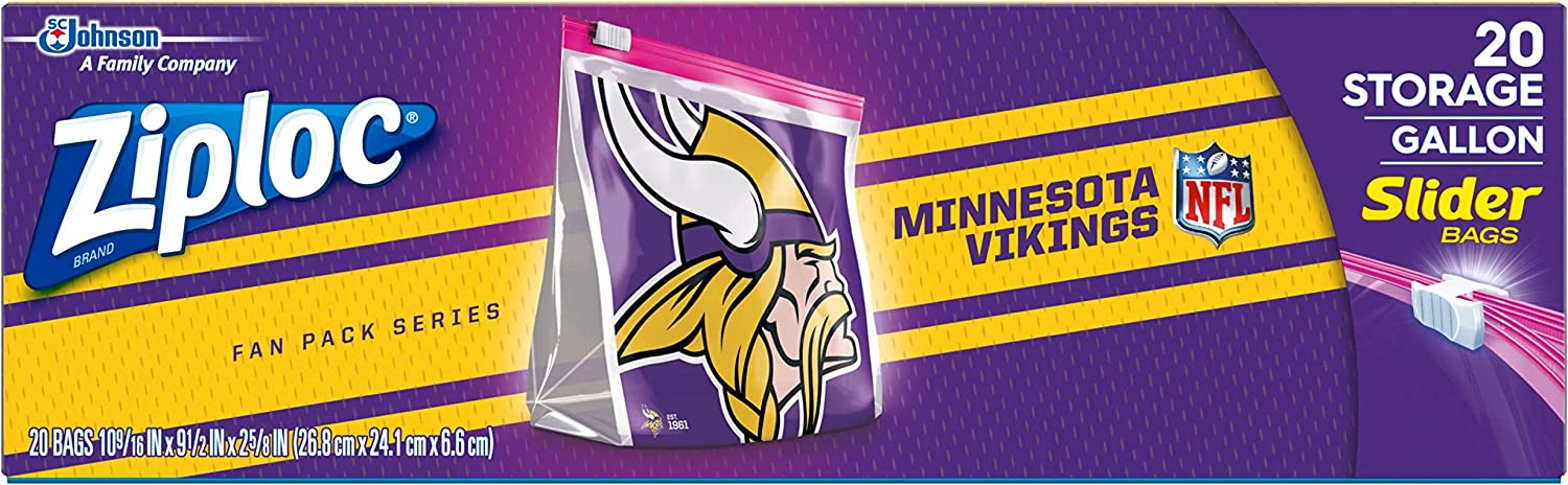 Ziploc Brand NFL Minnesota Vikings Slider Gallon, 20 ct