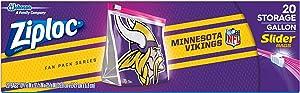 Ziploc Brand NFL Minnesota Vikings Slider Gallon, 20 ct