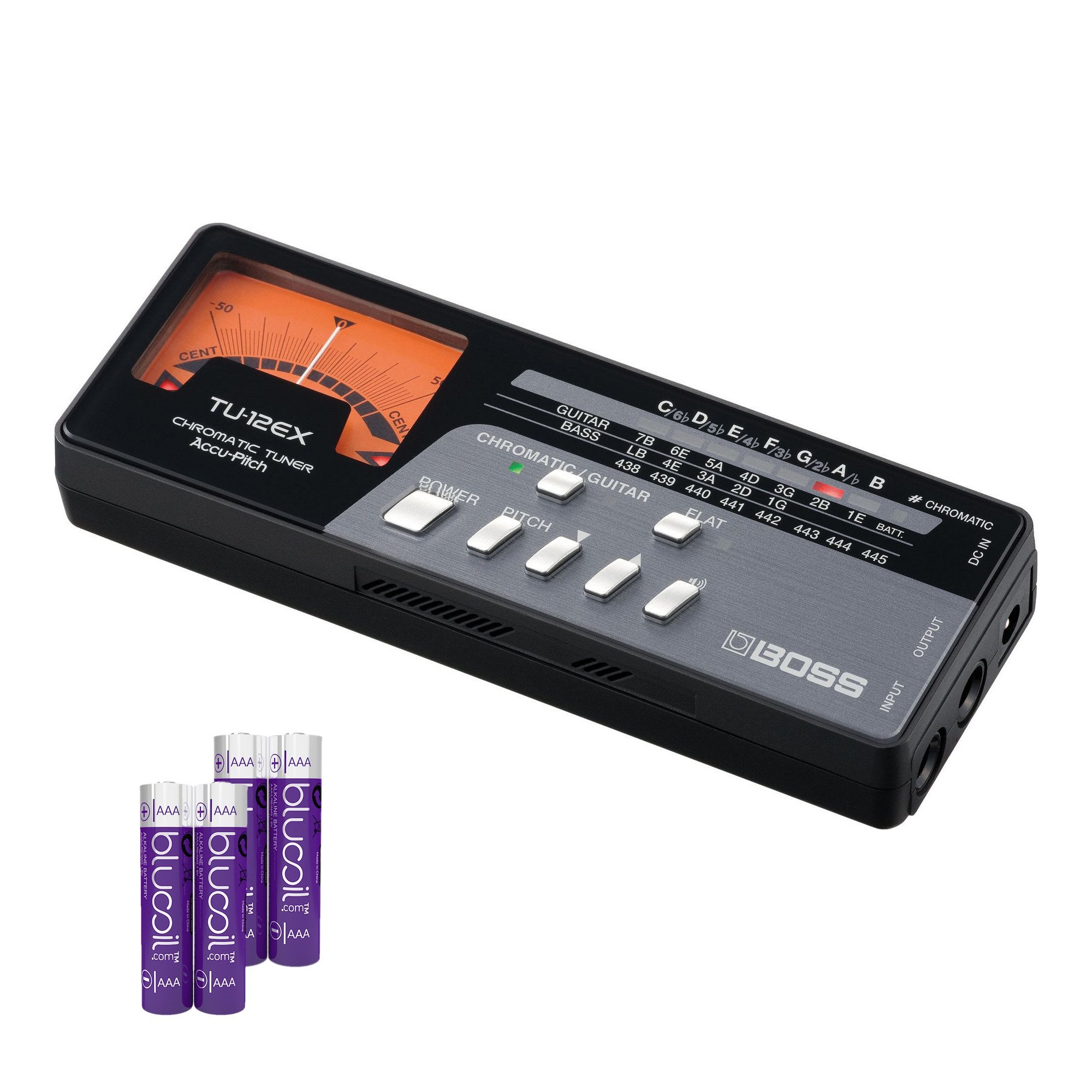 BOSS TU-12EX Guitar and Bass Chromatic Tuner -INCLUDES- 4 Blucoil AAA Batteries